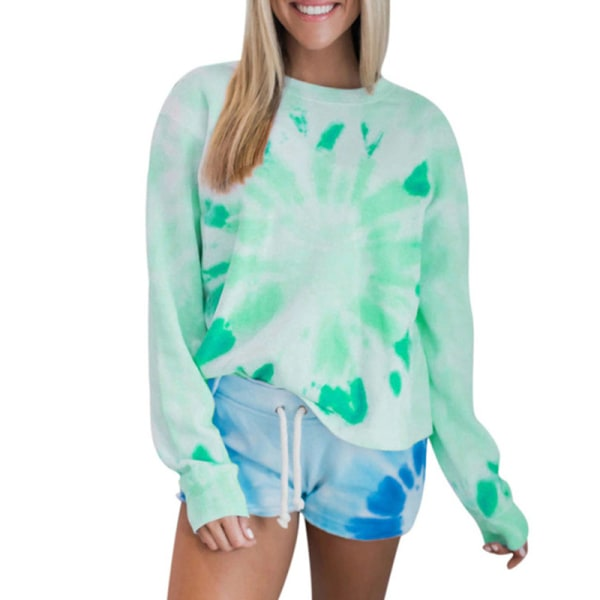 Women Printed Sweater Pullover Tie Dye Top Loose T-shirt Green,L