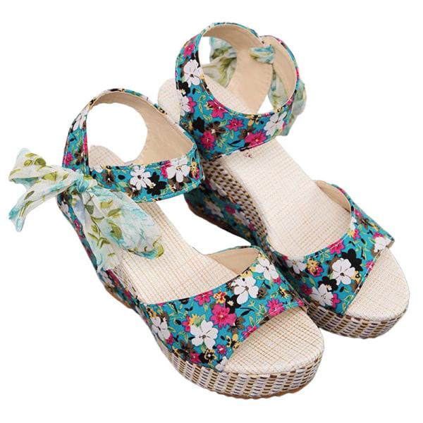 Women's Lace Open Toe Ankle Buckle High Heel Wedge Sandals Blue 37
