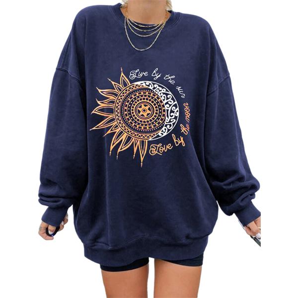 Women Fashion Print Top Round Neck Sweater T-Shirt Navy Blue Sunflower L