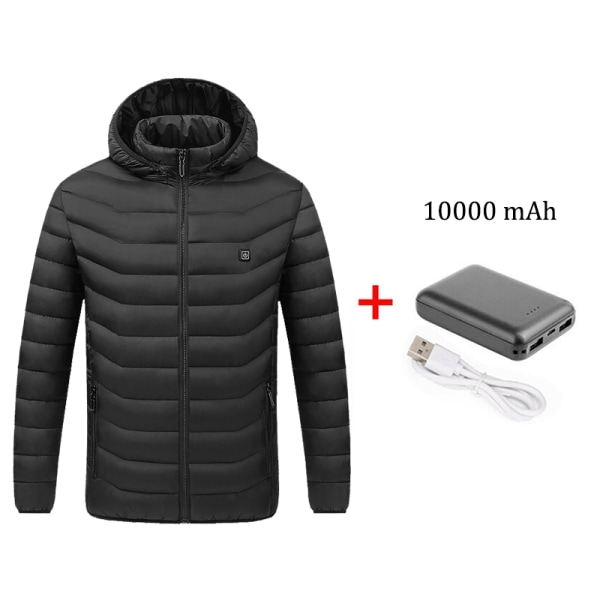 USB Electrically Heated Coat Hooded Jacket Infrared Outwear Black,M