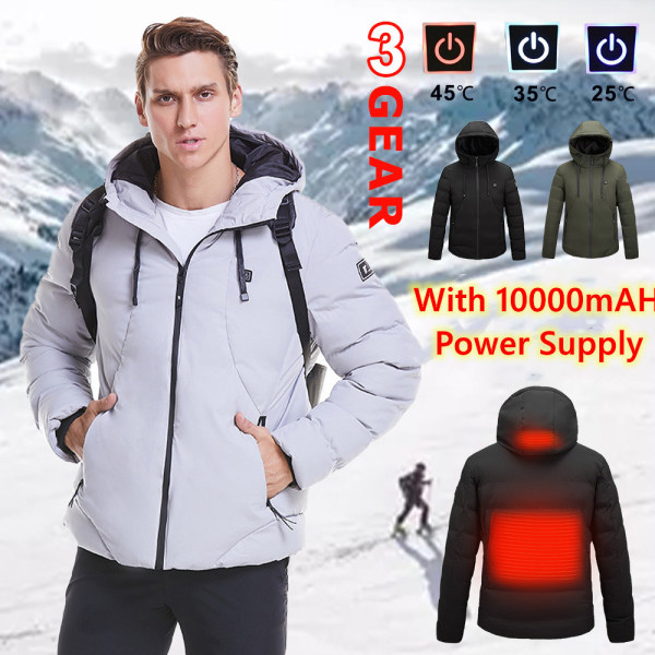 Men's Electrically Heated Coat Hooded Jacket Hoodies Outwear Green,7XL