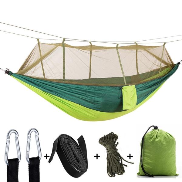 Camping Double Hammock W/ Mosquito Net Garden Swing Chair Green 3