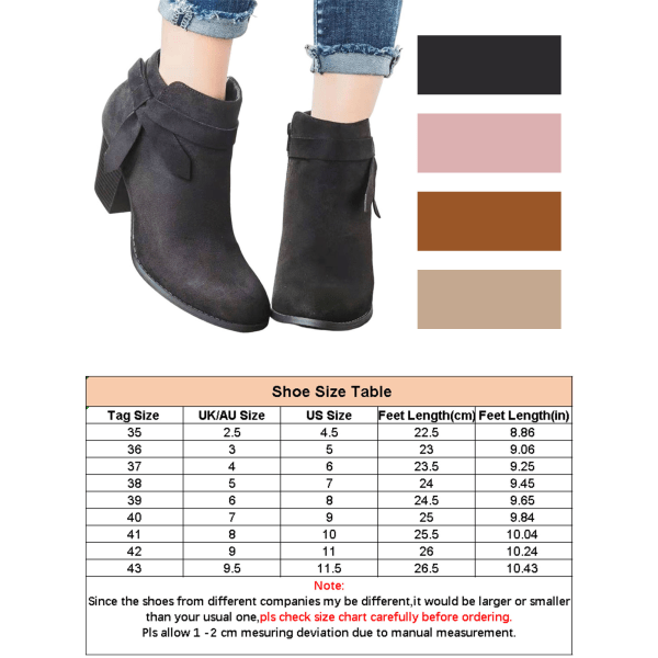 Women's Pointed Toe Western Cowboy Platform Stack Heel Boots Brown 41