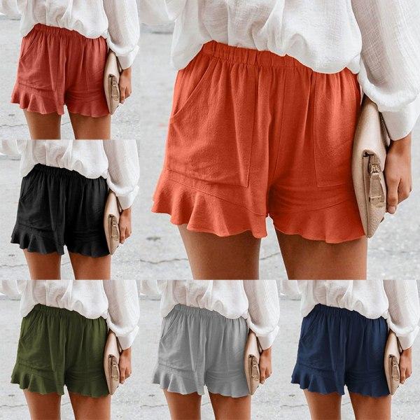 Women Summer Shorts High Waist Baggy Beach Ruffle Hot Pants Dark Blue,XXL
