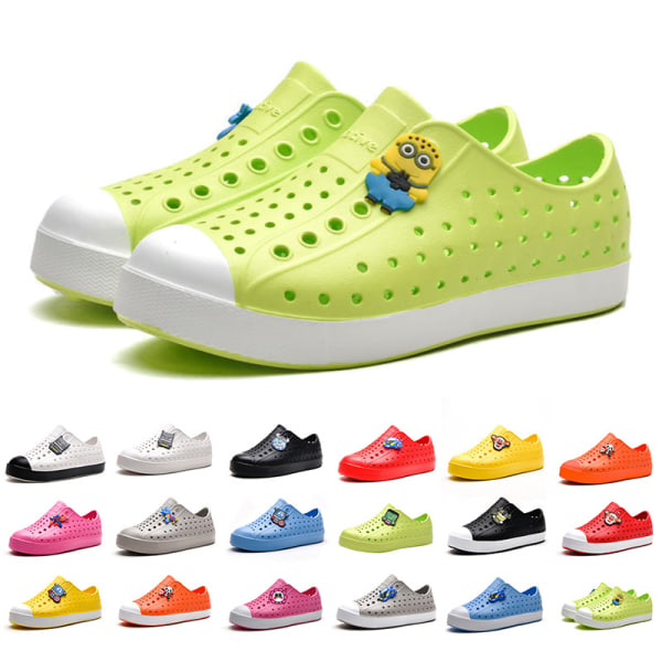 Children boys and girls hole casual shoes breathable sandals Black White,27