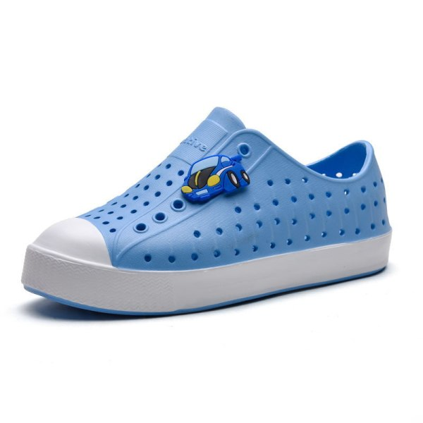 Children boys and girls hollow casual shoes breathable sandals Blue White,33