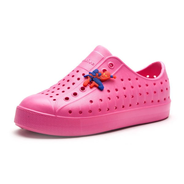 Children boys and girls ripped casual shoes breathable sandals Rose Red,34