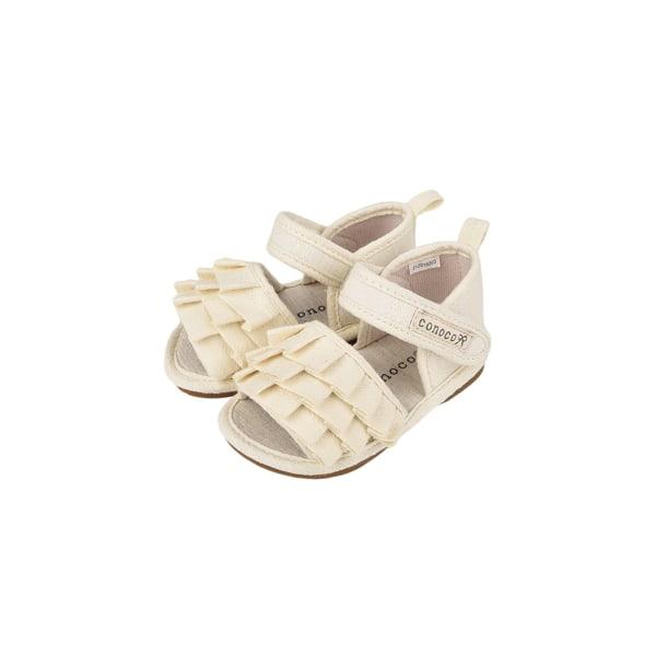 Children's ruffled sandals flat shoes open toe casual shoes Beige,17