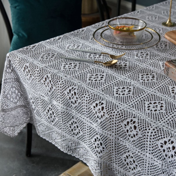 Crochet Hollow Tablecloth Cotton Linen Dining Table Cloth Cover White 100x140cm