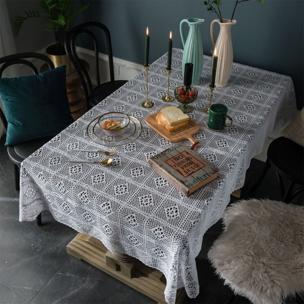 Crochet Hollow Tablecloth Cotton Linen Dining Table Cloth Cover White 140x220cm