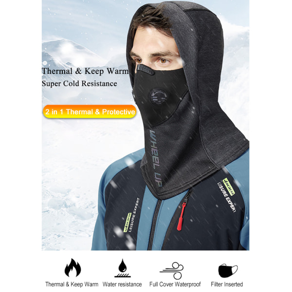 Cycling Winter Hat Mask Outdoor Windproof Full Night reflection Grey