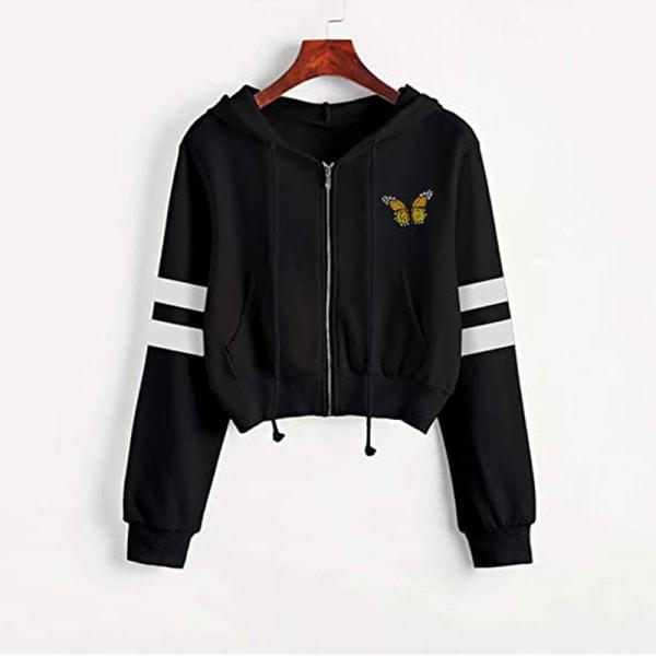 Women Solid Color Zip Ingot Hooded Short Sweater Casual Jacket Black Butterfly L
