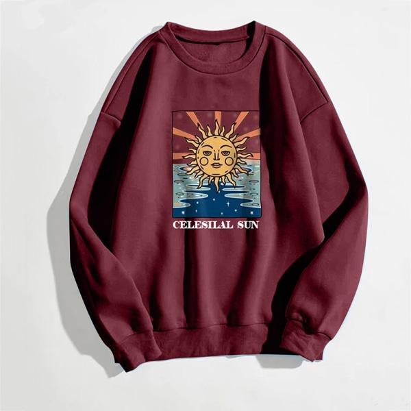 Women Crew Neck Sweatshirt Sunflower Print Casual Top Letter Wine Red M