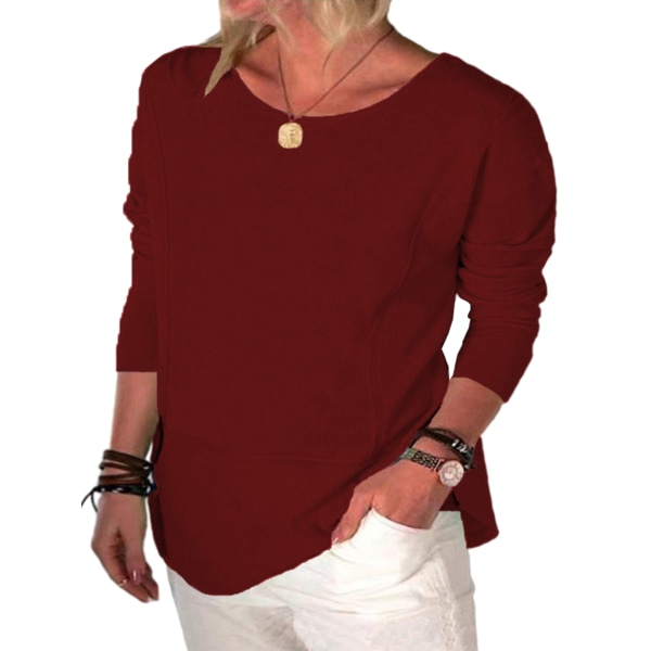Women Solid Color Round Neck Long Sleeve Top T-shirt Pullover Claret 4XL