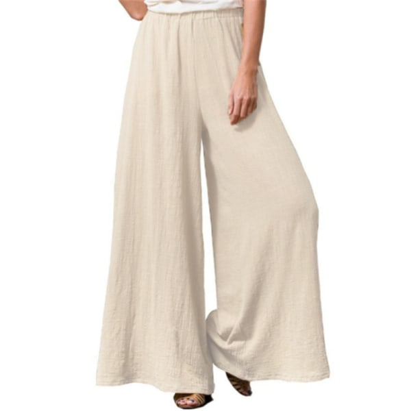 Womens Plus Size Elastic Pants Baggy Loose Wide Leisure Trousers Beige,3XL
