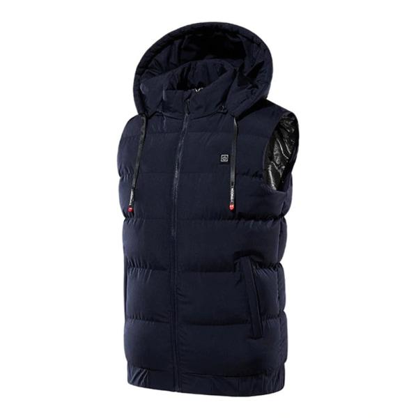 Men Electrically Heated Vest Hooded Jacket Thermal Pad Winter Dark Blue,7XL