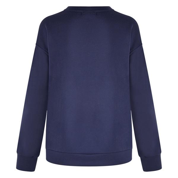 Women Fashion Print Top Round Neck Sweater T-Shirt Navy Blue Smile XXL