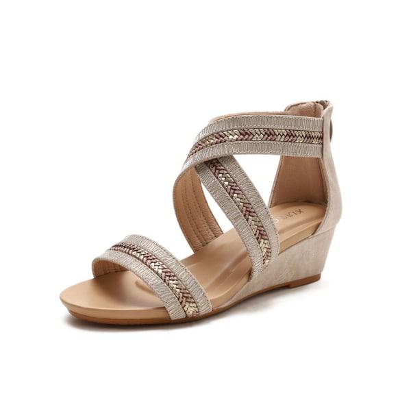 Women's open-toe buckle zipper wedges summer platform sandals Golden 37