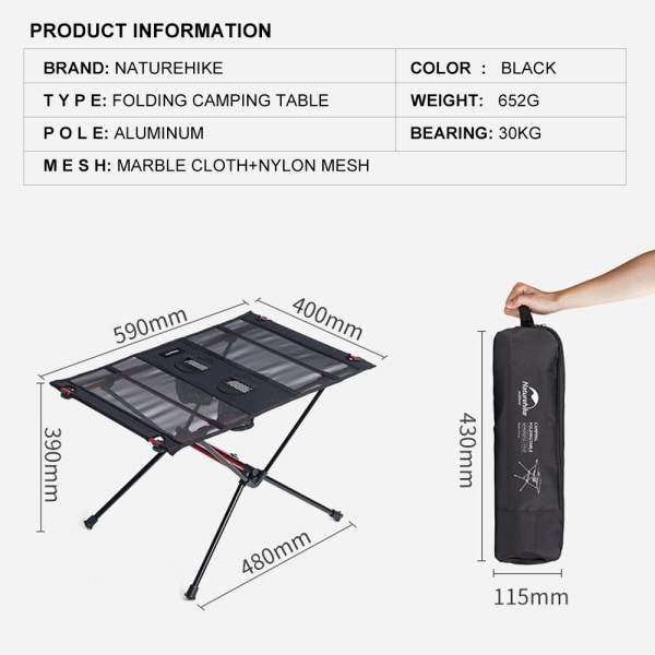 Folding Camping Table Ultralight Picnic Table w/ Bag Black