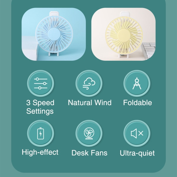 Handheld Table Fans USB Rechargeable Portable Foldable Outdoor Yellow