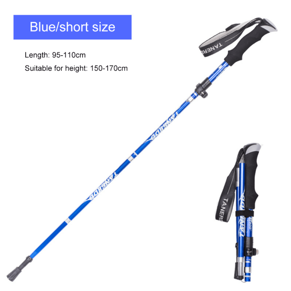 Hiking Stick Poles Adjustable Alpenstock Retractable Dark Blue Short