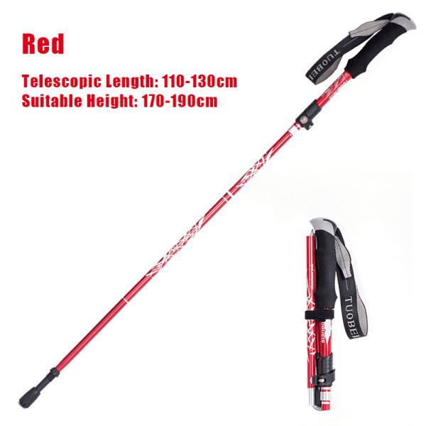 Hiking Stick Poles Adjustable Alpenstock Retractable Red Short