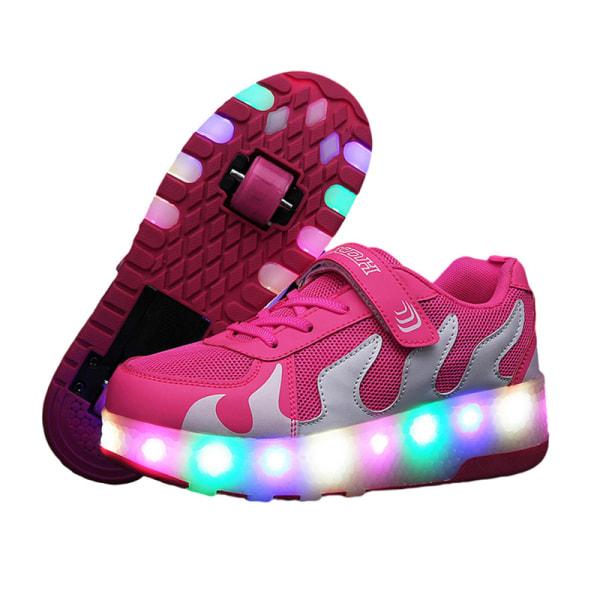 Kids Sneaker Double Wheels LED Lights Skate Shoes Gift Pink,36