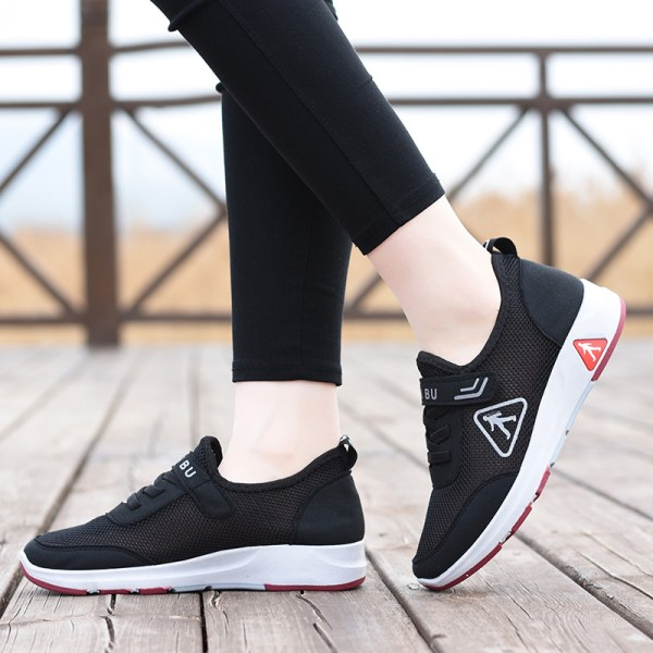 Ladies Adult Velcro Breathable Outdoor Casual Flat Sneakers Black,41