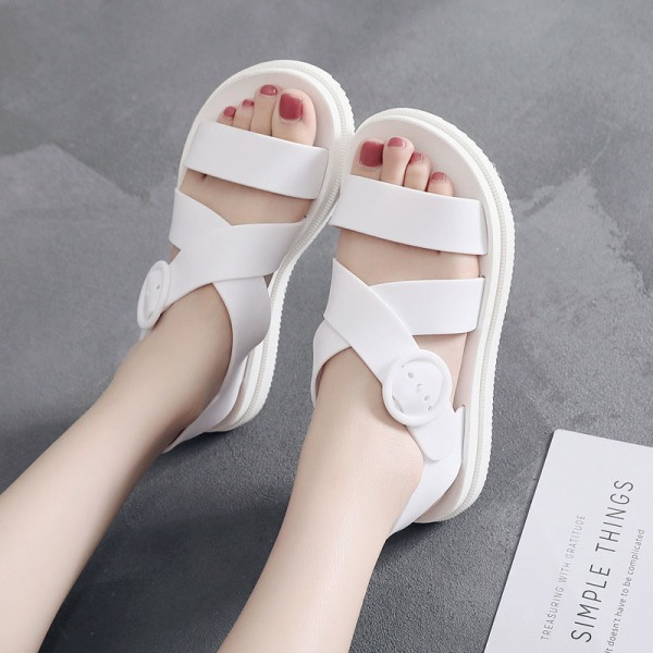 Ladies belt buckle solid color sandals soft casual shoes White,37