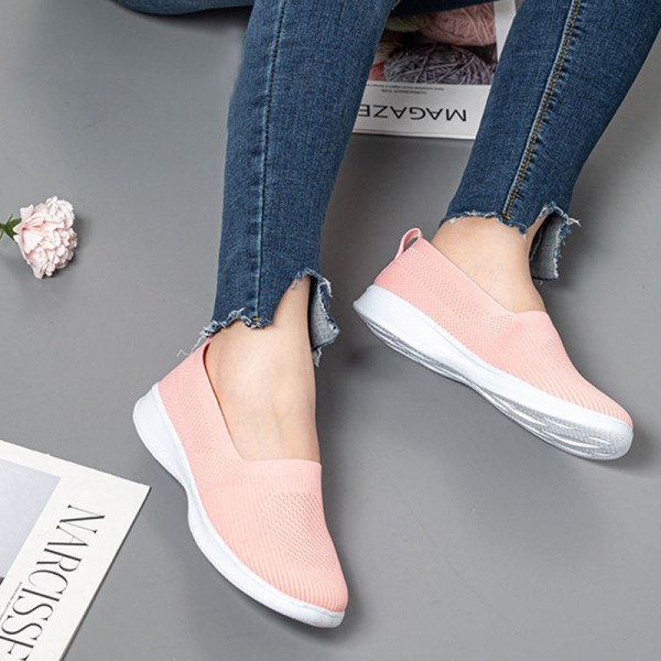 Ladies Fashion Casual Shoes Outdoor Viscose Shoes Breathable Pink,42