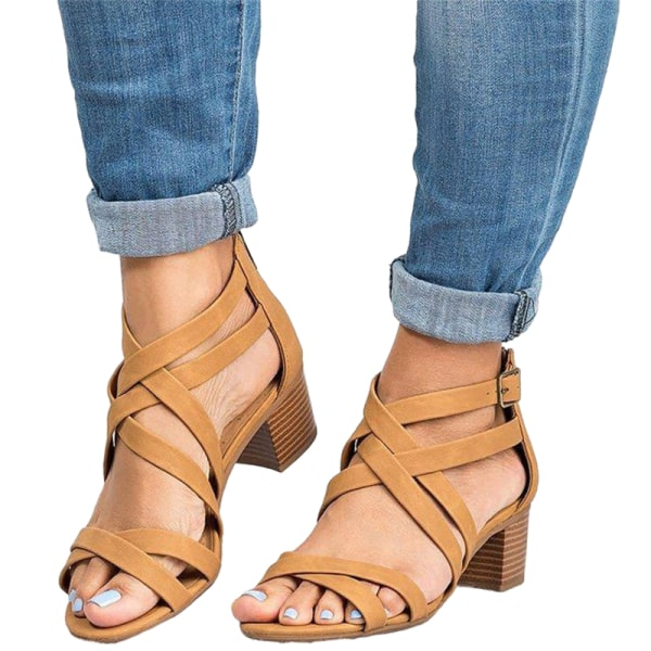 Ladies Fashion High Heels Comfortable Thick Heel Sandals Summer Khaki,38