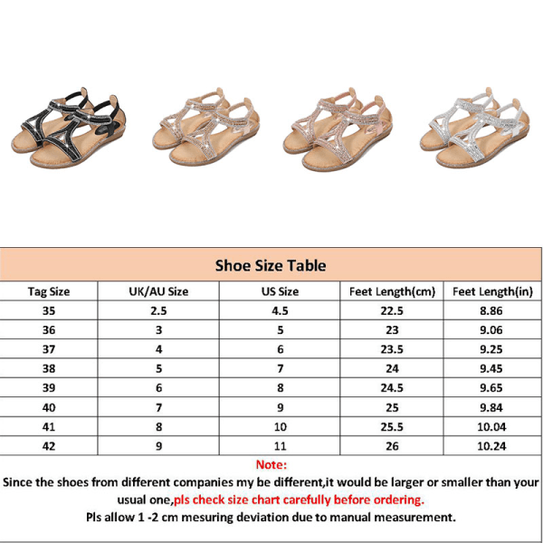 Ladies Fashion Rhinestone Sandals Classic Flat Shoes Summer Silver,39