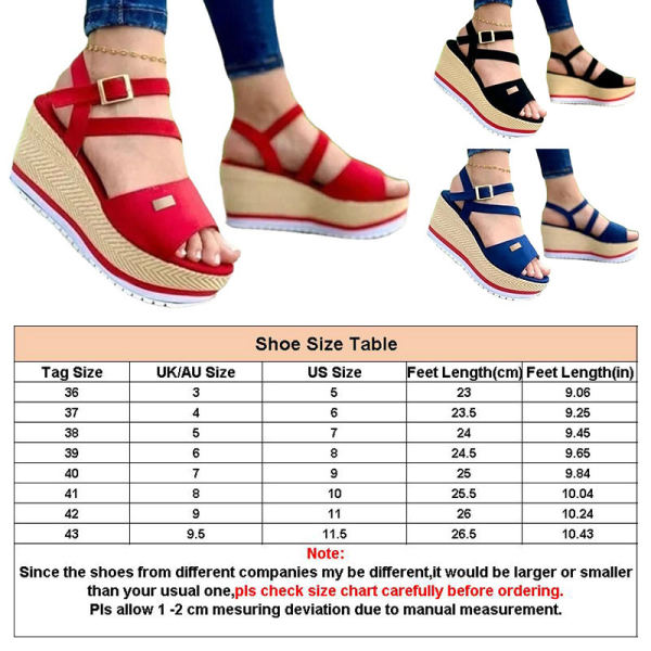 Ladies fashion sandals non-slip wedges are light and comfortable Black,36