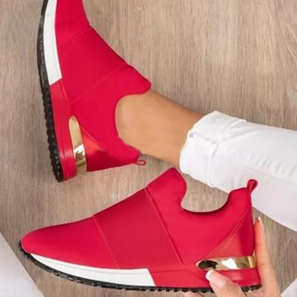 Ladies Fashion Sneakers Summer Thick Bottom Thickened Sneakers Red,35