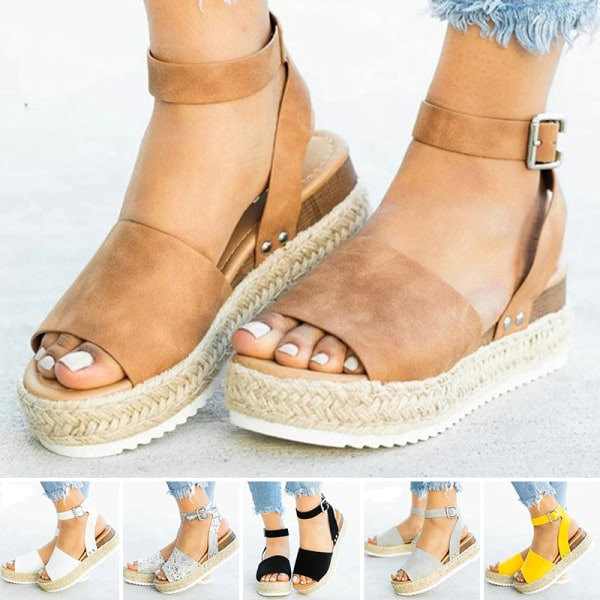 Ladies Fashion Solid Color Sandals Slippers Fashion Women Shoes Brown,38