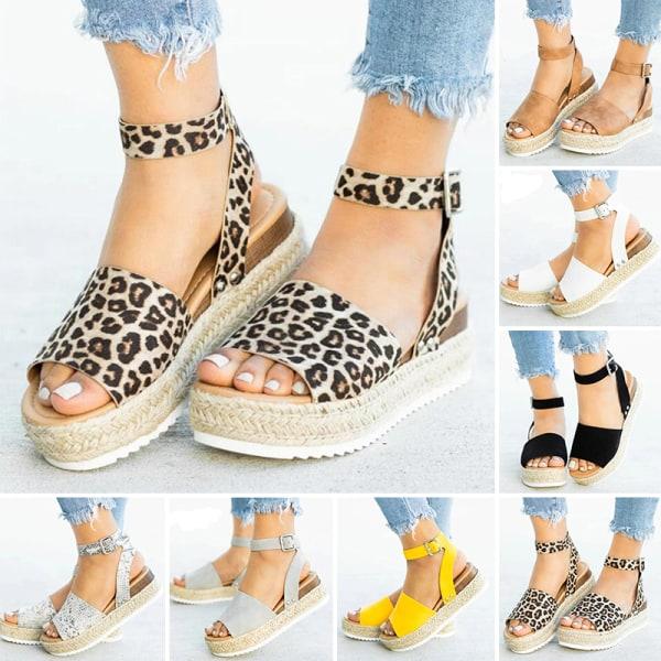 Ladies Fashion Solid Color Sandals Slippers Fashion Women Shoes Leopard Print,39