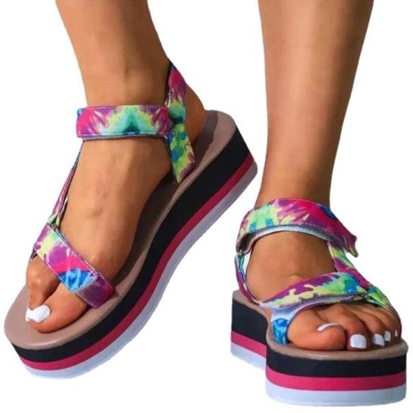 Ladies Fashion Summer Platform Shoes Hollow Casual Sandals Dark Green Red,37