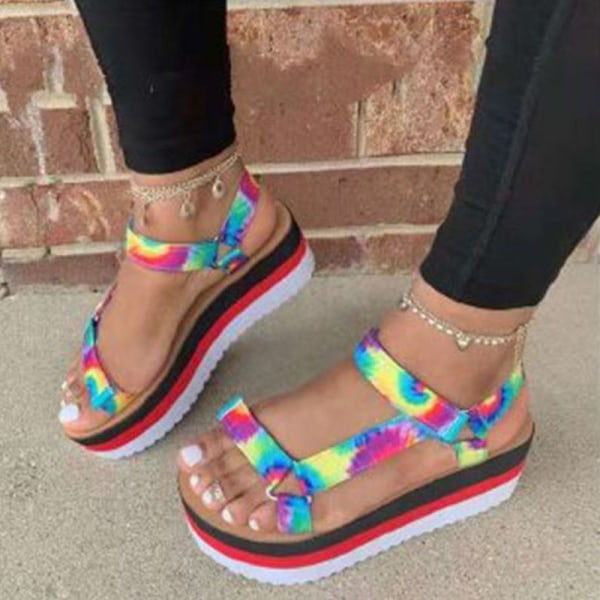 Ladies Fashion Summer Platform Shoes Hollow Casual Sandals Sun Red,38