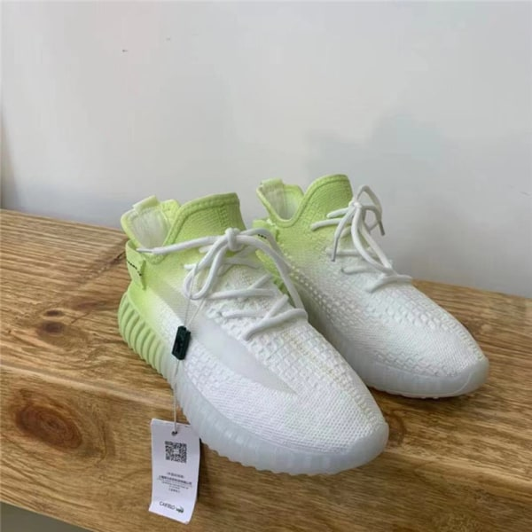 Ladies Gradient Coconut Shoes Flying Knitted Breathable Sneakers Green,35