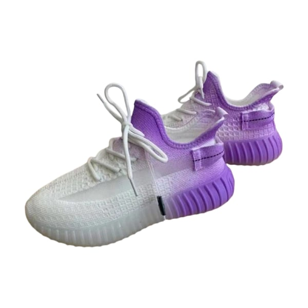 Ladies Gradient Coconut Shoes Flying Knitted Breathable Sneakers Purple,38