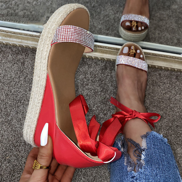 Ladies Open Toe Sandals Fashion Wedge Heel Shoelace Word Band Red,36
