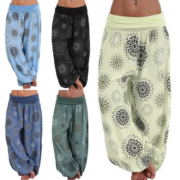 Ladies Printed Bohemian Comfortable Loose Yoga Pants Black,L