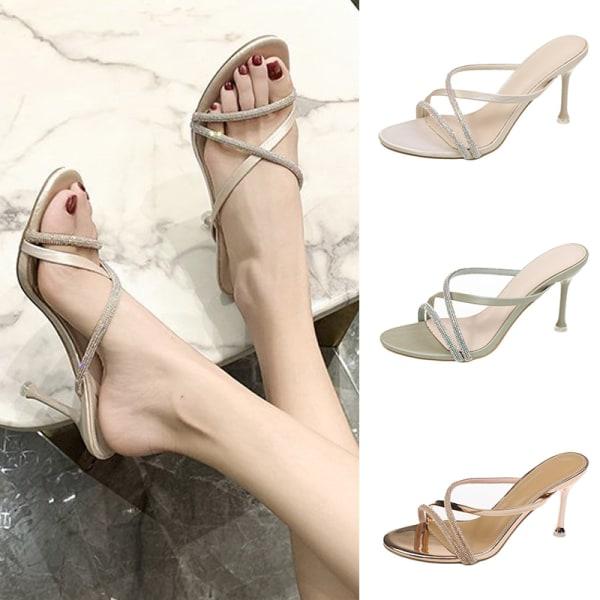 Ladies Rhinestone High Heels Toe Strap Sandals Party Dress Shoes beige,36