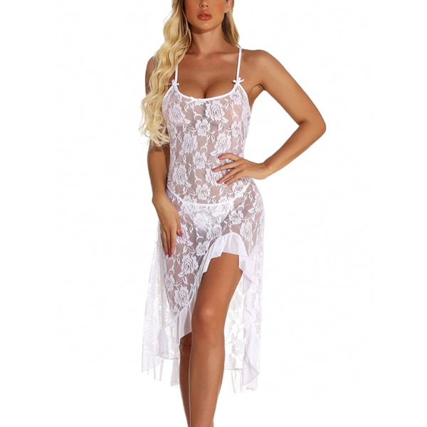 Ladies sexy nightdress rose flower lace sexy long dress White,M