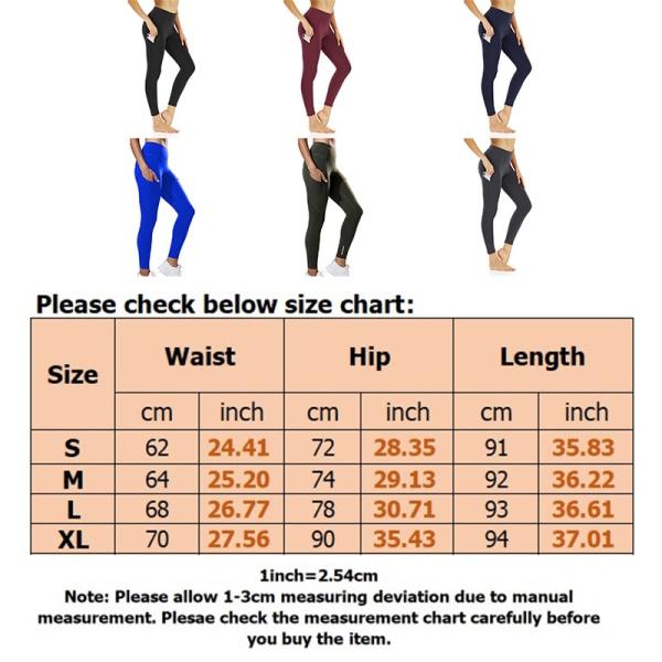 Ladies Stretch High Waist Yoga Fitness Pants Jogger Leggings black,L
