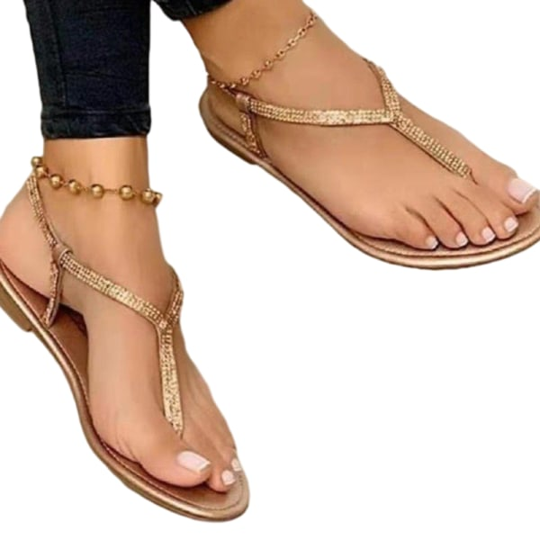 Ladies thong sandals simple fashion flat shoes summer breathable Golden,37