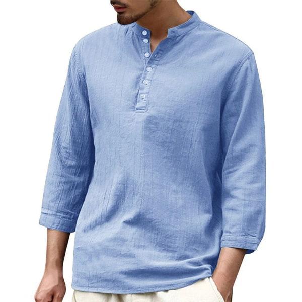Men casual cotton linen breathable T-shirt loose solid color top Light Blue,XL