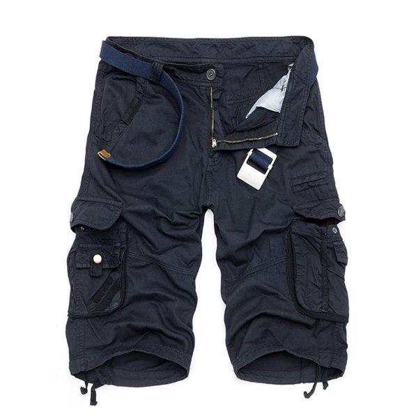 Men Casual Pocket Overalls Beach Shorts Navy Blue,38