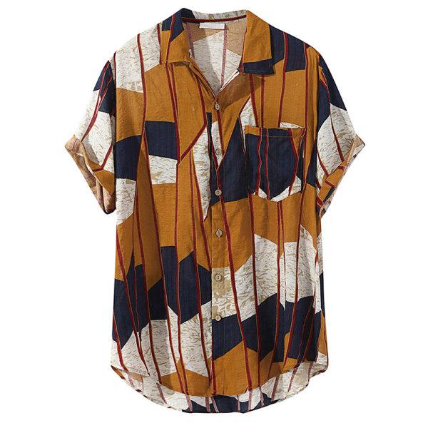 Men casual short sleeved shirt beach vacation button T-shirt Yellow,L