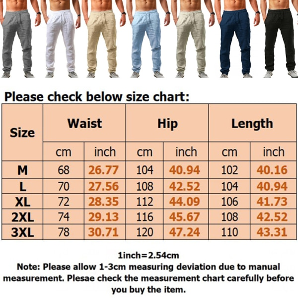 Men casual sports cotton linen pants breathable loose trousers White,M